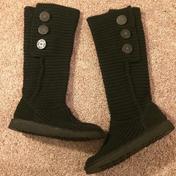 4ce2dfe2f81 Nwot Uggs Women Sz 6 Black tall Cardy knit boots